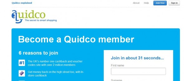 About 31 seconds – Signing up to Quidco